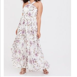 Torrid SPECIAL OCCASION CHIFFON CROSS NECK GOWN